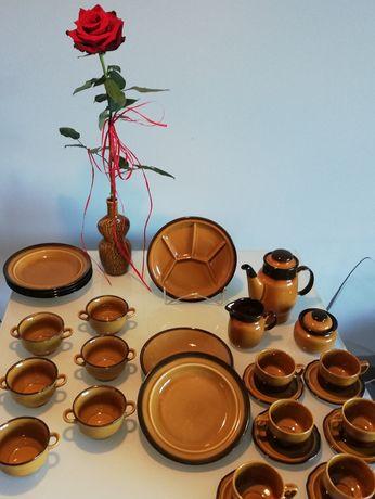 Porcelit Pruszków kolor musztardowy prl, kabaret talerze zastawa wazon