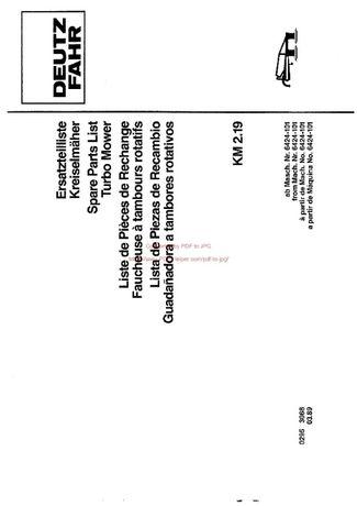 Katalog części kosiarka Deutz fahr KM 2.19