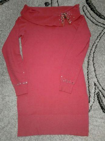 Туника, платье, цвет коралл со стразами, 100 руб
