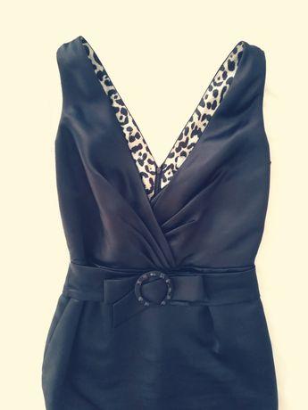 Sukienka 40 L czarna midi ołówkowa na wesele do pracy pabua