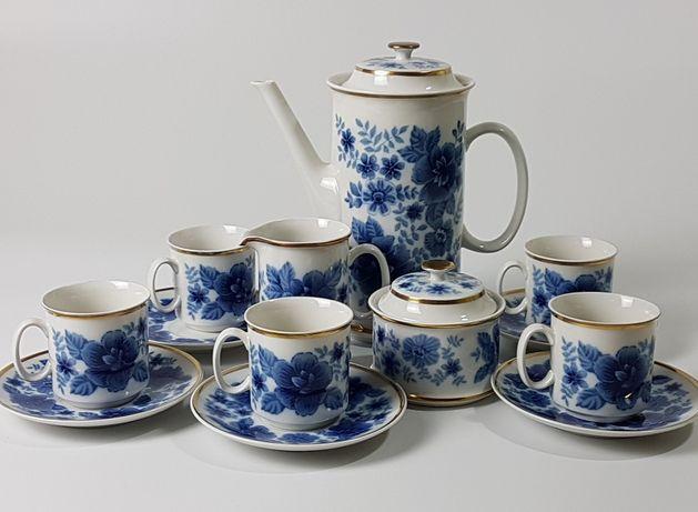 Serwis Vintage Kawa Herbata LOUCKY fason JOSEFINA biel kobalt złoto