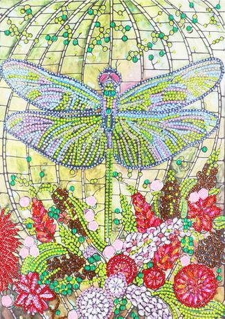 Ważka owad obraz obrazek diamentowe malarstwo cyrkonie
