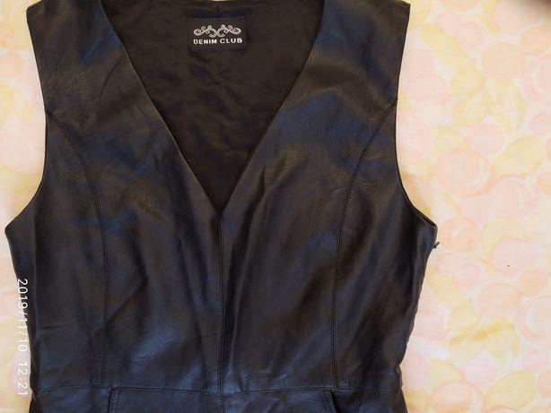 Платье-сарафан, DENIM, новое, чёрное, экокожа