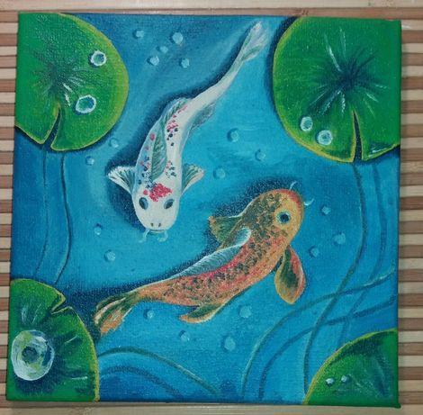 Картина маслом на холсте 30х30 Сомики