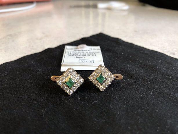 Продам золотые серьги с бриллиантами и изумрудами.