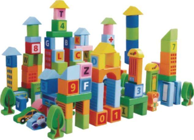 Klocki drewniane edukacyjne dla dzieci - Miasto 100 el. + sorter