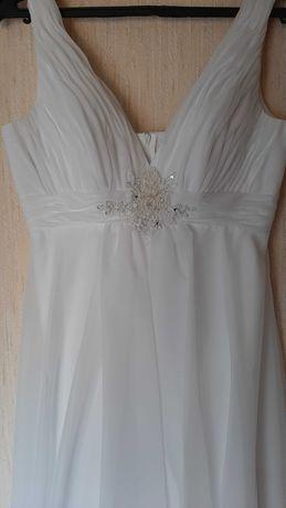 Белое свадебное платье в греческом стиле