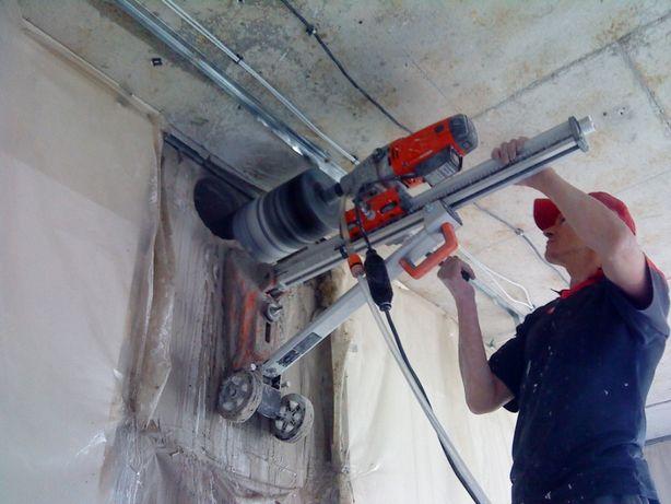 Сверління отворів, алмазное сверление, демонтаж резка бетона рекупират