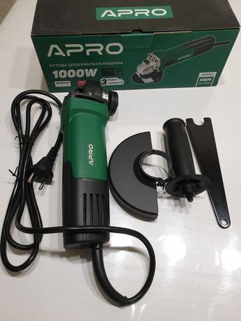 Болгарка (углошлифовальная машина) APRO 1000 W, 125 мм
