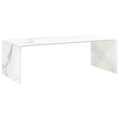 vidaXL Mesa de centro 98x45x31 cm mármore branco vidro temperado 284733