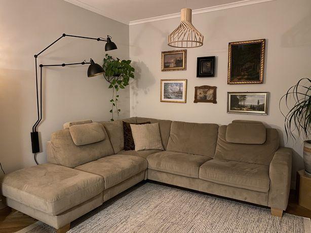 Sofa narożna kanapa narożnik duża wygodna welur beżowa design prl