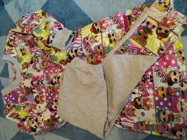 Sukienka i spodnie zestaw lol surprise 98 104 bawełna