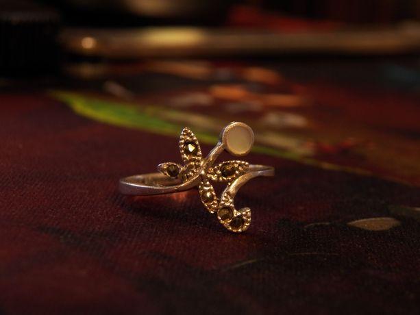 Pierścionki srebro rozmiar 14 bursztyn markazyty masa perłowa