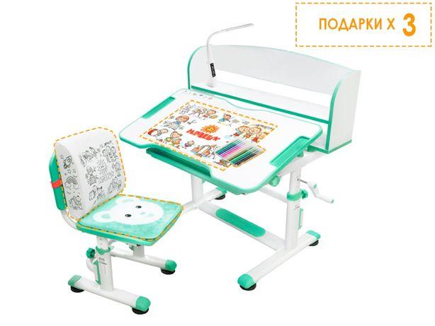 ШКОЛЬНЫЙ Комплект парта и стульчик Evo-Kids BD-10 Teddy с лампой