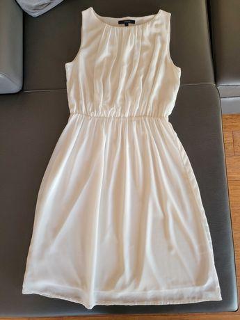 Sukienka biała S Lindex na szerokich ramiączkach letnia jak nowa