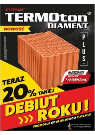 Pustak ceramiczny Termoton DIAMENT PLUS 25 P+W !!!