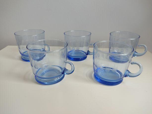 Szklanki prl niebieskie szkło