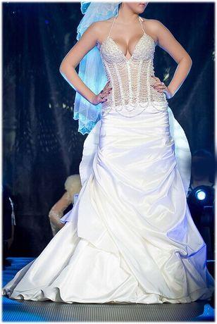 Maxima wyjątkowa suknia ślubna rybka syrena ecru 38 perły sexy