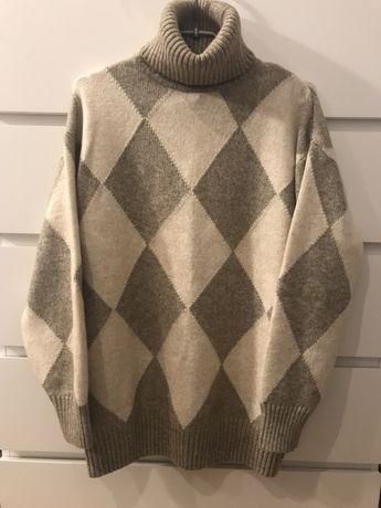 Sweter h&m xs romby beż brąz karmel golf