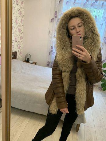 Модная куртка натуральная кожа и мех Шкіра хутро  НОВАЯ ДЕШЕВО