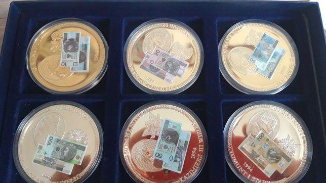 MEDALE Monety z BANKNOTY KOMPLET Zestaw ZŁOTO Au Certyfikat Etui
