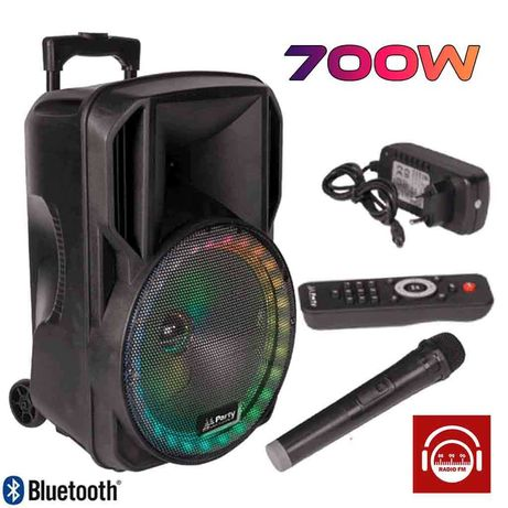 "Coluna 700W Portátil Amplificada 12"" Bluetooth Usb Rádio Microfone"
