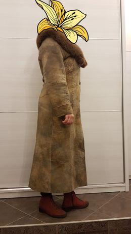 Кожаное пальто демесезонное турецкое С натуральным мехом