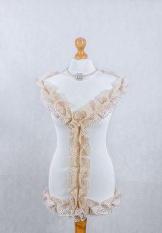 Manekin krawiecki ozdobny koronka bawełniana rękodzieło