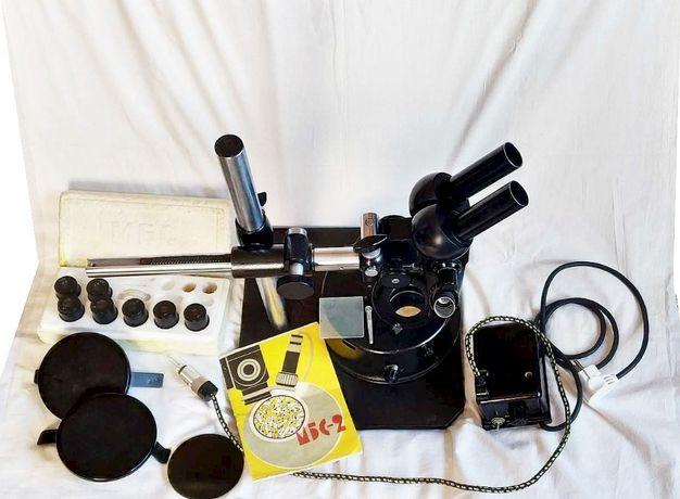 Микроскоп стереоскопический МБС-2 в комплекте, ретро экземпляр, СССР