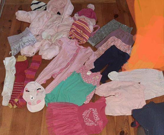 Zestaw ubranek dla dziewczynki 68/74 kombinezon sukienka leginsy bluzk