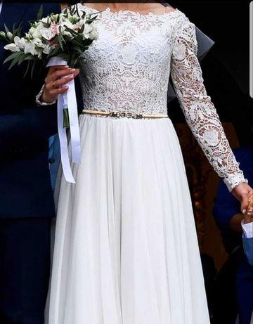 Suknia ślubna gipiura koronka długi rękaw