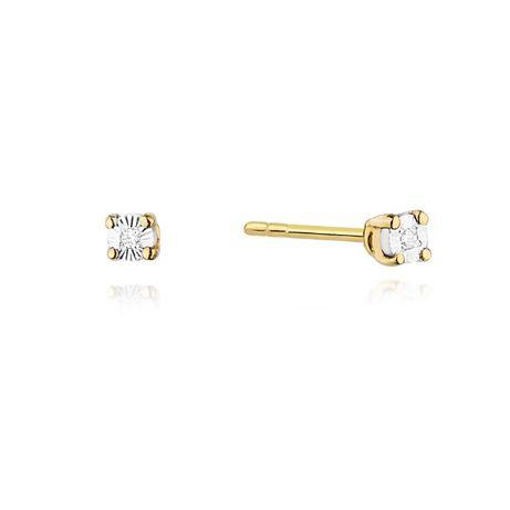Złote kolczyki z brylantami 0,02 ct sztyfty wkręty 585 sklep