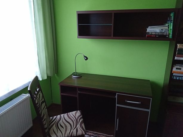 Biurko Venge+krzesło+półka wisząca+lampka