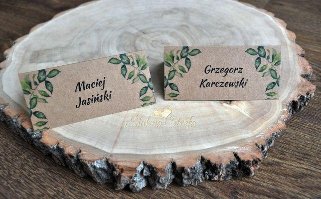Winietki listki winietki na ślub wesele winietki ślubne eko
