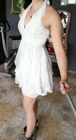 Biała sukienka rozkloszowana wiązana na szyi roz 36 falbanki