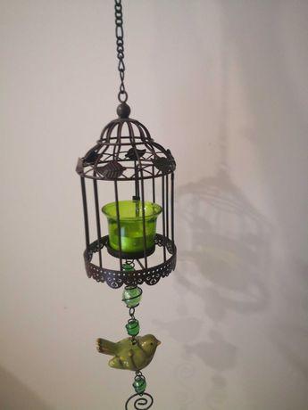 Porta velas de pendurar com gaiola e pássaro