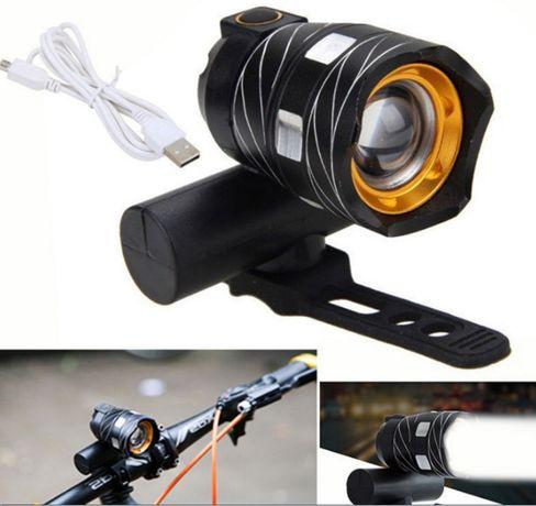 Вело фара с зумом и встроенным аккумулятором USB CREE T6 350лм фонарь