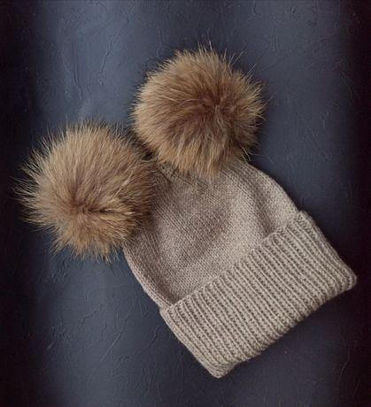 Детская шапка шапочка зимняя бини с помпоном