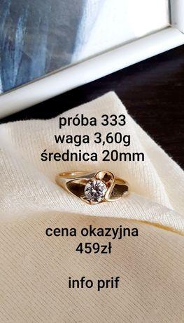 Pierścionek złoty p.333 / waga 3,60g / średnica 20mm