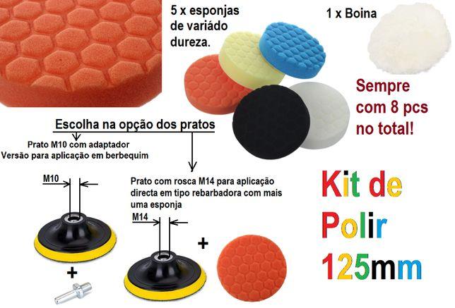 Kits de diversos acessórios para Polir, esponjas, boinas, pratos...