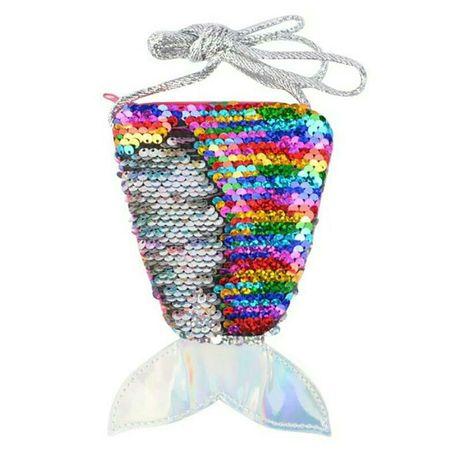 Сумочка хвостик русалки для девочек разноцветная с реверсивными пайетк