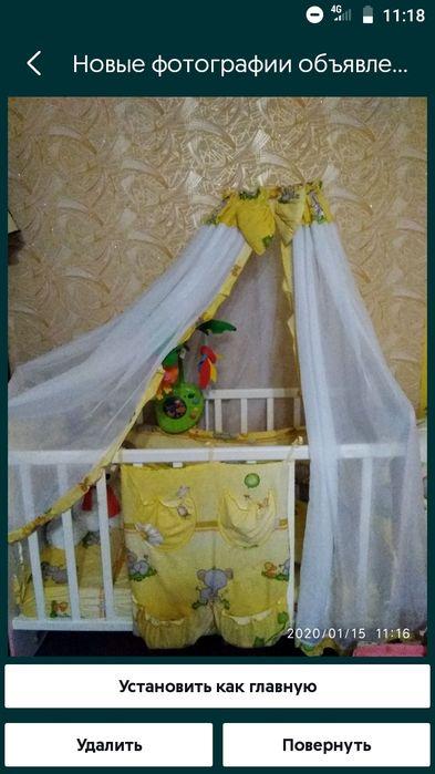 Постельный комплект +бортики на кроватку+балдахин+держатель балдахина Константиновка - изображение 1