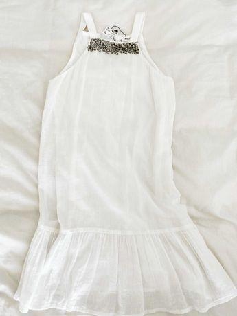 Vestido branco com brilhantes na gola Mango / Novo / Portes incluídos