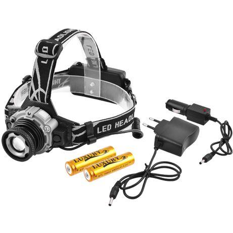 Фонарь налобный Police W002-XPE, датчик движения, ЗУ 220V/12V, 2x18650
