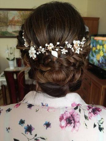 Ozdoba do włosów na ślub wesele opaska Kryształki