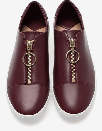 bordowe półbuty buty sportowe Stradivarius suwaki zamki 41