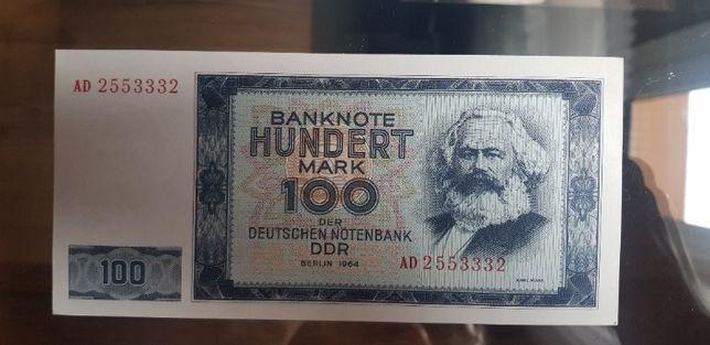 Banknot Niemcy DDR 100 Marek 1964r - Marks - Stan UNC