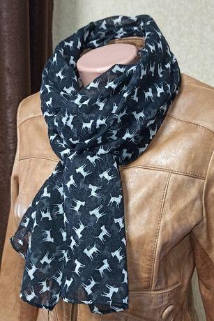 Стильный шарф, шарфик,палантин 180*56 собачки
