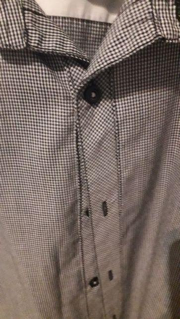 Koszula męska firmy Smog, szara z krótkim rękawem.