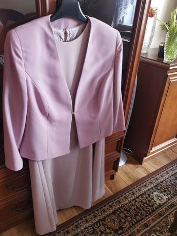 Elegancki komplet sukienka + żakiet  XL żorżeta jedwabna